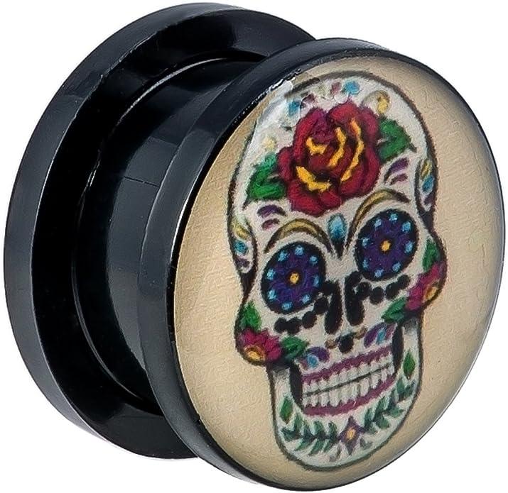 """PAIR-Skull Heads w//CZ Eyes On Steel Screw On Ear Tunnels 19mm//3//4/"""" Gauge Body Je"""
