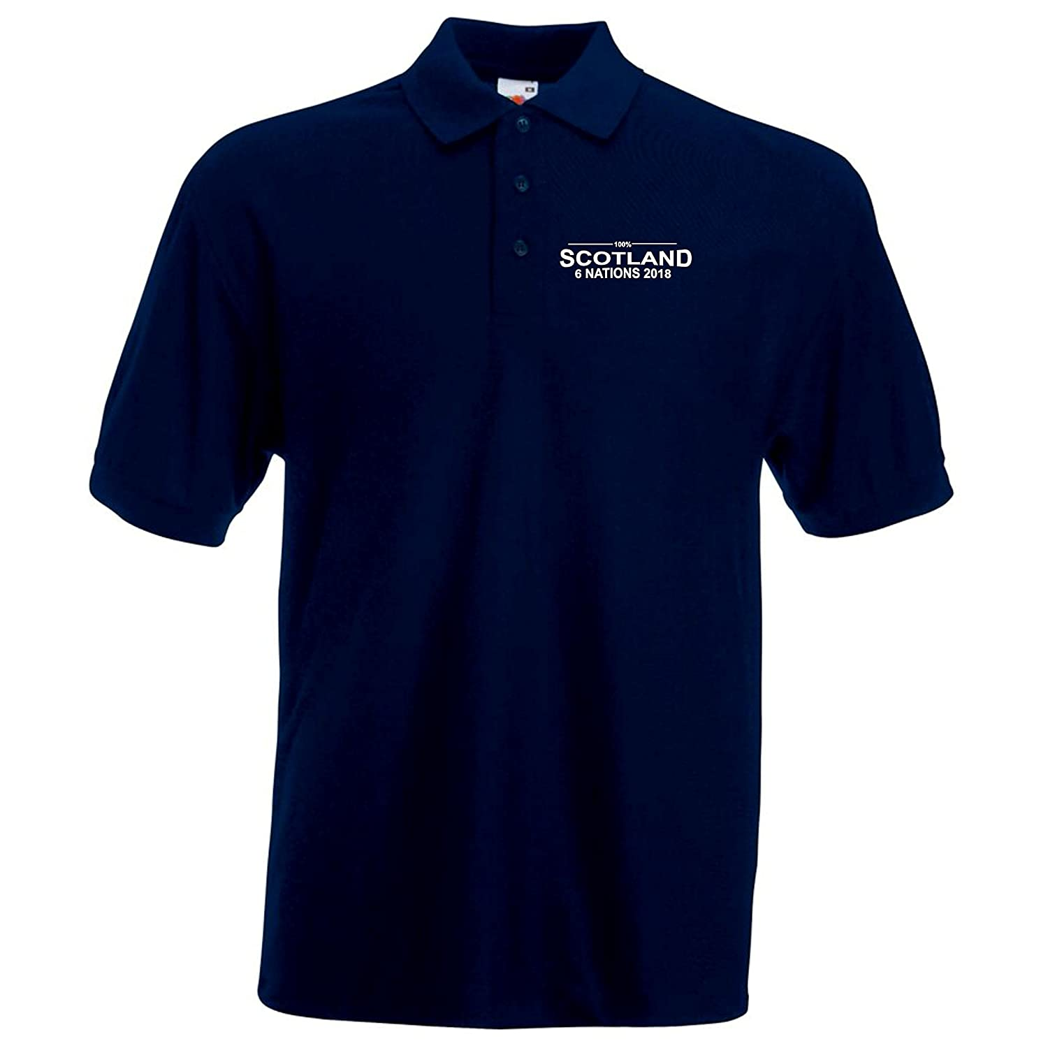100% Scotland Rugby Six Nations 2018 Polo Mens Navy