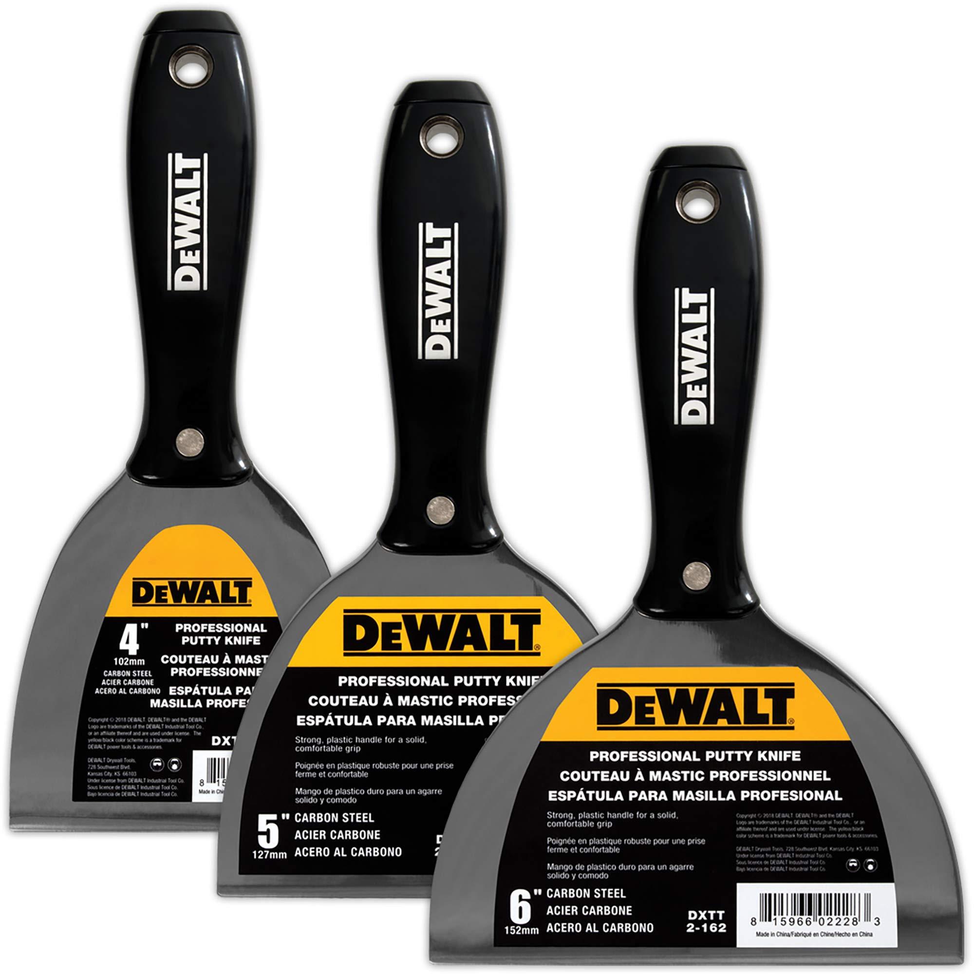 DEWALT Carbon Steel Putty Knife 3-Pack | 4/5/6-Inches | DXTT-3-160