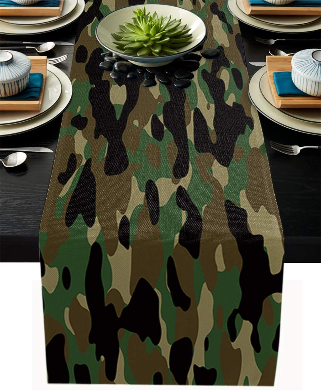 Amazon Com Anoreya Camo Table Runner 13x70 Inch Linen Burlap Runners Dining Cover For Kitchen Wedding Holiday Parties Decorations Forests Military Army Camouflage Pattern Home