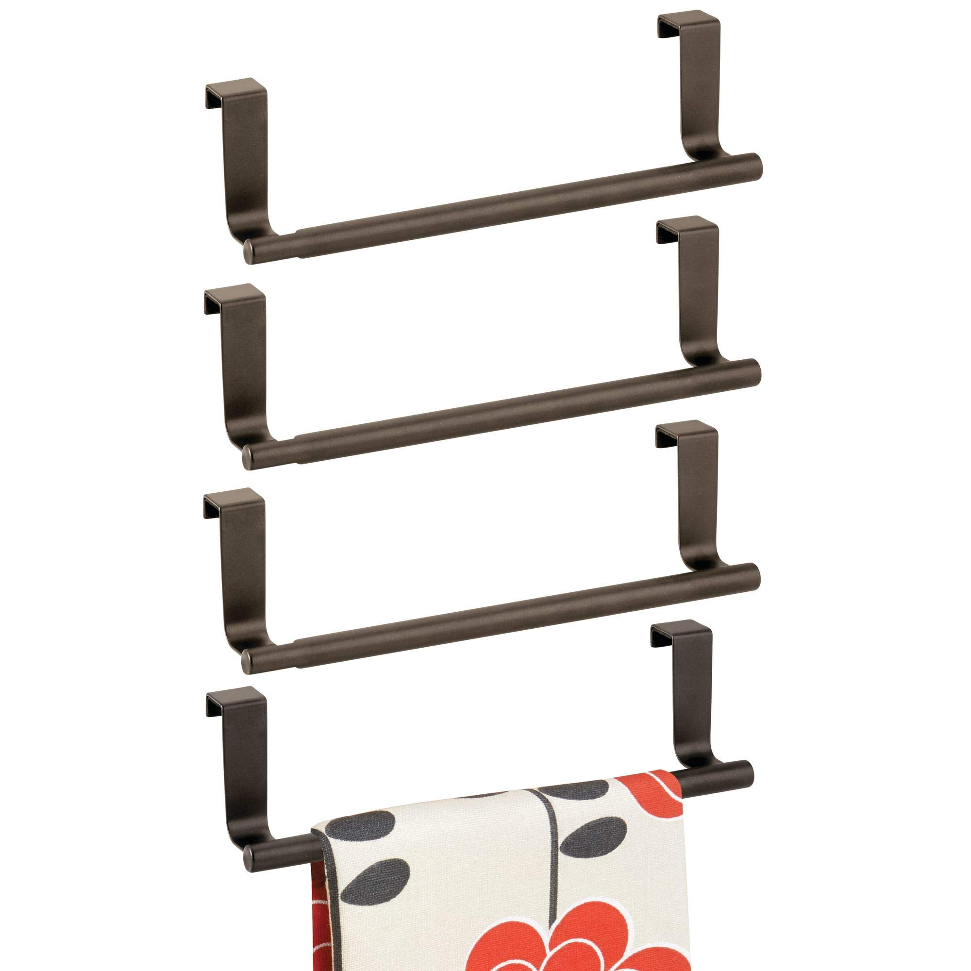 mDesign Decorative Kitchen Over Cabinet Stainless Steel Towel Bar - Hang on Inside or Outside of Doors, Storage and Display Rack for Hand, Dish, and Tea Towels - 9'' Wide, Pack of 4, Bronze
