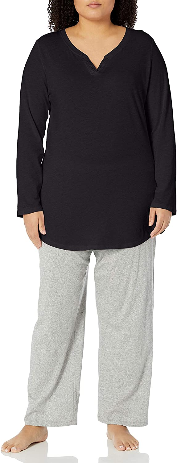 JUST MY SIZE Women's Plus Size Split Neck Tunic at  Women's Clothing store