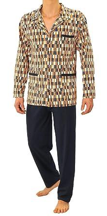 1554ae7242 Sesto Senso® Herren Pyjama Lang Schlafanzug Knöpfen 100% Baumwolle Langarm  und Langehose Zweiteiliger Set