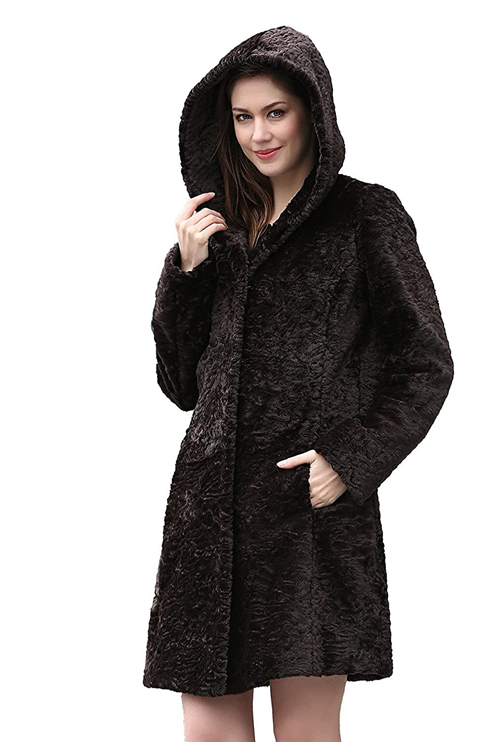 Adelaqueen Clearance Women's Lush Karakul Blending Faux Fur Coat With Hood