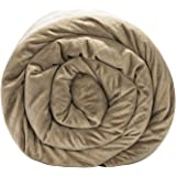 BlanQuil Quilted Weighted Blanket (Taupe 15lb) W/Removable Cover.