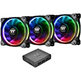 Thermaltake CL-F053-PL12SW-A Riing Plus 12 LED RGB Radiator Fan - Black (Pack of 3)