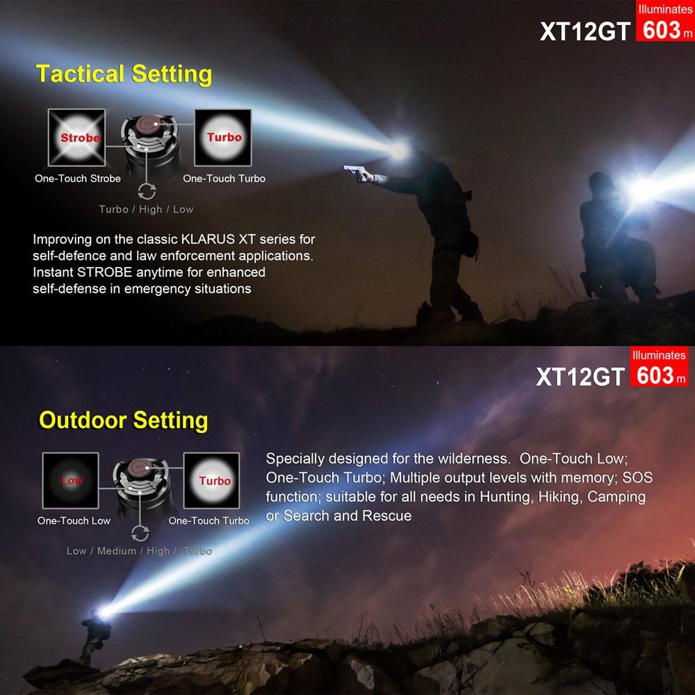 Klarus XT12GT Linternas magnética Linterna Táctica Linterna 1600 lumen CREE LED XHP35 HI D4 Linterna magnética Linterna con 2* 18650 Batería Recargable y ...