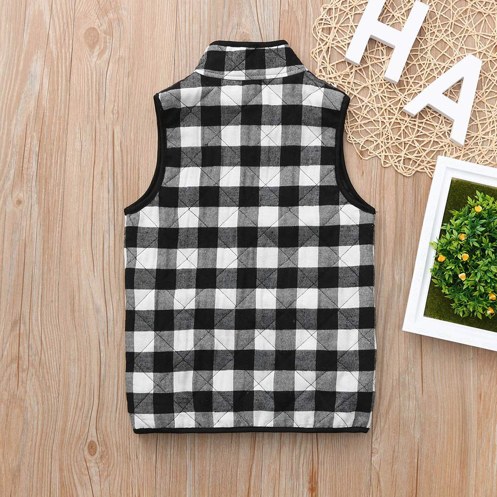 Baby Toddler Boys Girls Fall Winter Warm Jacket Clothes 1-5 Years Old Kids Plaid Waistcoat Thick Coat Outwear