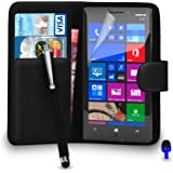 Nokia Lumia 930 - Premium Leather BLACK Wallet Flip Case Cover Pouch with Big Touch Stylus Pen BLUE Dust Stopper Screen Protector & Polishing Cloth, (WALLET BLACK)
