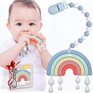 Baby Teether Teething Rainbow Toys for Babies, BPA-Free Infant Toy for 0-24 Months Baby Boys & Girls (Blue)
