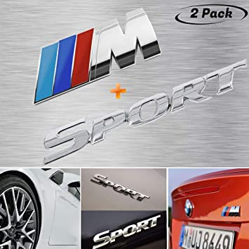 2Pcs Car Emblem Metal Chrome M Side Door Fender Auto Badge Power Sticker Decal