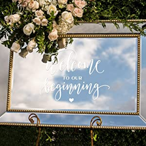 "Vinyl Wall Art Decal - Welcome to Our Beginning - 19"" x 24"" - Couples Wedding Reception Home Adhesive Sticker - Marriage Wedlock Family Gifts of Love Living Room Bedroom Decor Stickers"
