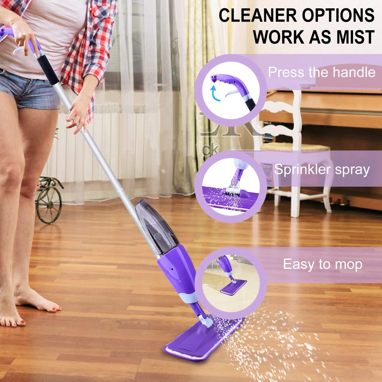 Hardwood Floor Mop Microfiber Spray Mop with Refillable Bottle and 2 Pcs Reusable Microfiber Pads (Purple) by BONROB (Image #5)
