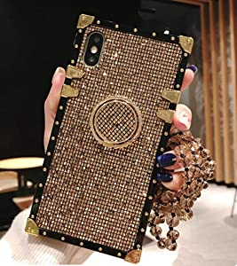 KAPADSON for iPhone Xs max 6.5 inch Luxury Bling Glitter Sparkle Cute Gold Square Corner Soft Shock-Absorption Phone Hold Case Cover with Strap - Gold