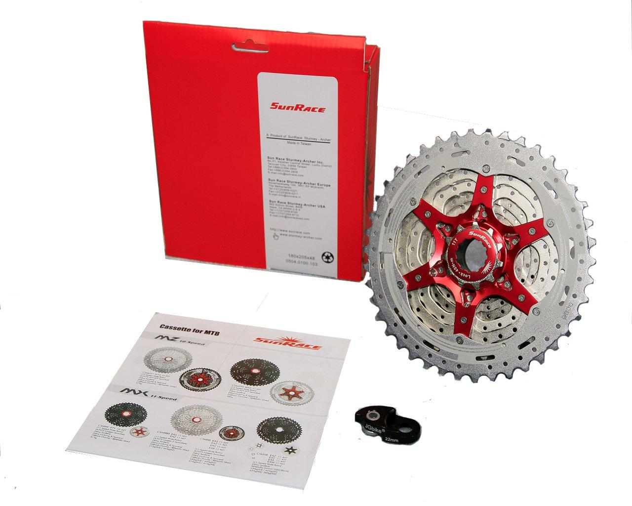 JGbike Sunrace 10 Speed Cassette 11-42T CSMX3 Silver Wide Ratio MTB Cassette for Mountain Bike Including Extender