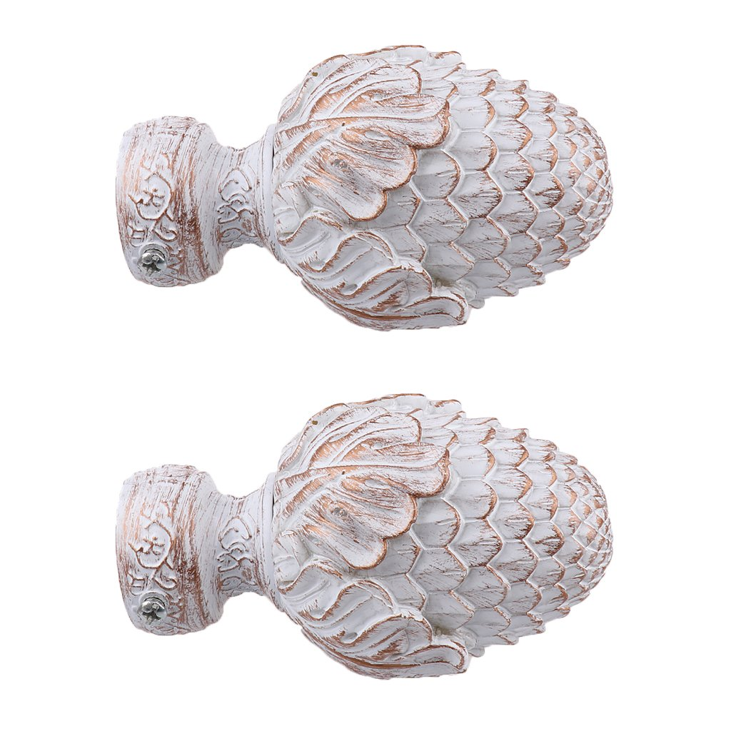Jili Online 2Pcs Aluminium Alloy Drapery Curtain Rail Rod Decorative Head Cap Finial Fits Dia. 34mm Rods for Home Window Decor #1