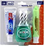 Dr. Fresh Travel Kit 3-In-1 Toothpaste/Scope/Toothbrush (2 Pack)