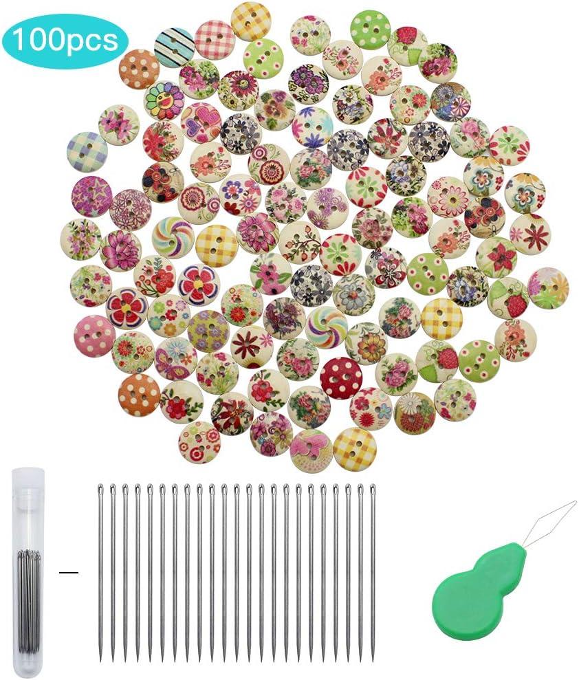 UBERMing 100 Pcs Boutons en Bois 2 Trous Bouton Mercerie Boutons Multicolores pour Bricolage Lartisanat Equip/é de 23 Aiguilles /à Broder Un Cylindre de Rangement Un Enfile-Aiguille