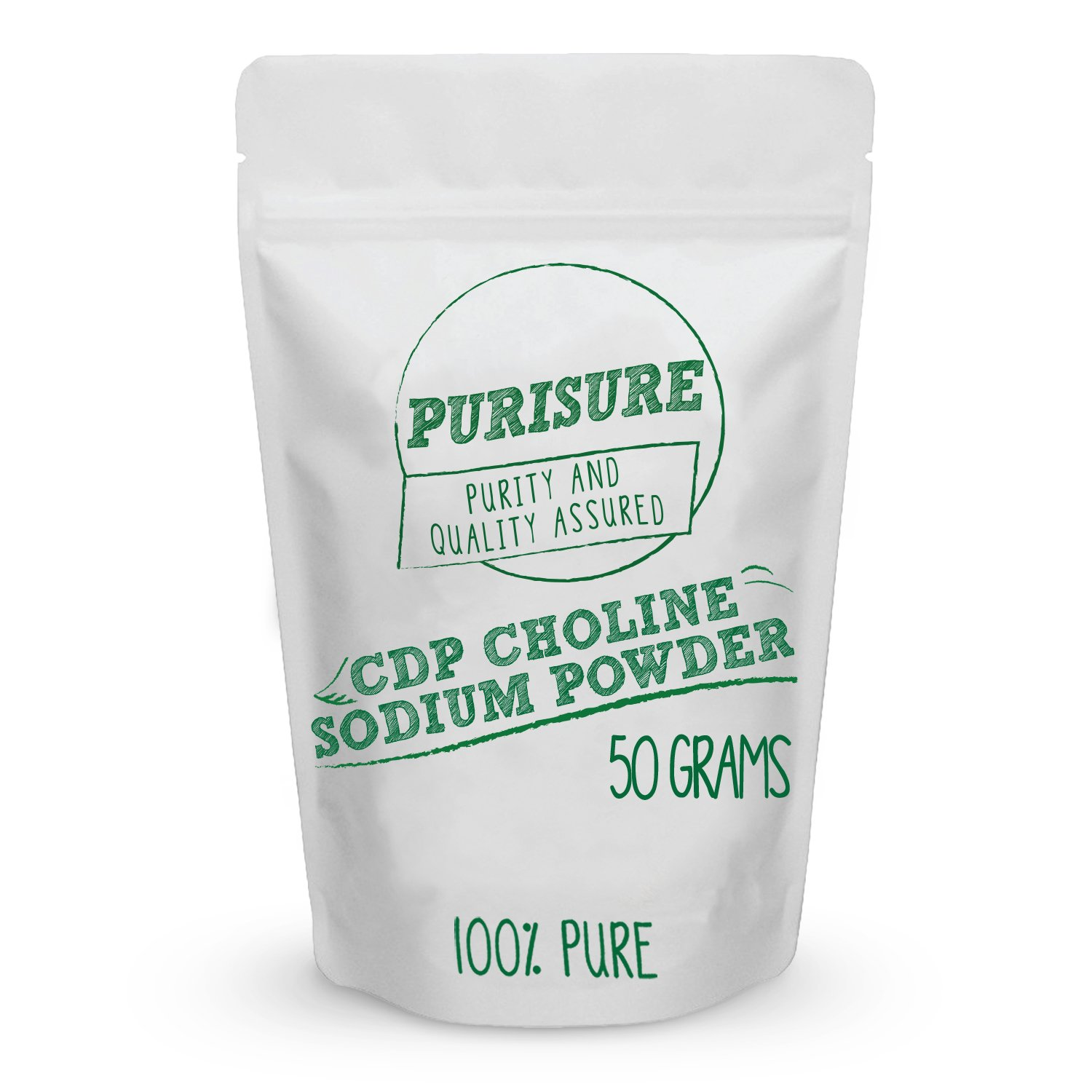 Purisure CDP Choline Powder (Citicoline Sodium) 50g (200 Servings) | Promotes Cognitive Efficiency | Boosts Mental and Physical Energy | Nootropic | Increases Uridine