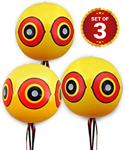 DE-BIRD Balloon Bird Repellent - 3-Pk - Fast and Effective Solution to Pest Problems - Scary Eye Balloons Keep Birds Away from House, Garden Crops, Swimming Pools & More