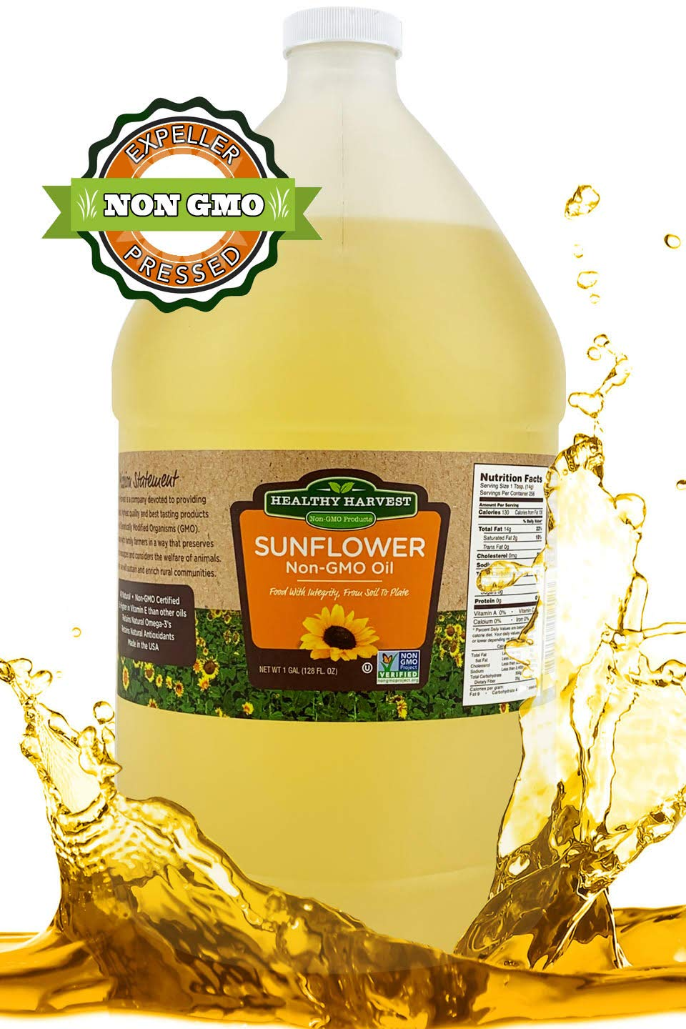 Healthy Harvest Non-GMO Sunflower Oil - Healthy Cooking Oil for Cooking, Baking, Frying & More - Naturally Processed to Retain Natural Antioxidants {One Gallon} by Healthy Harvest Productions