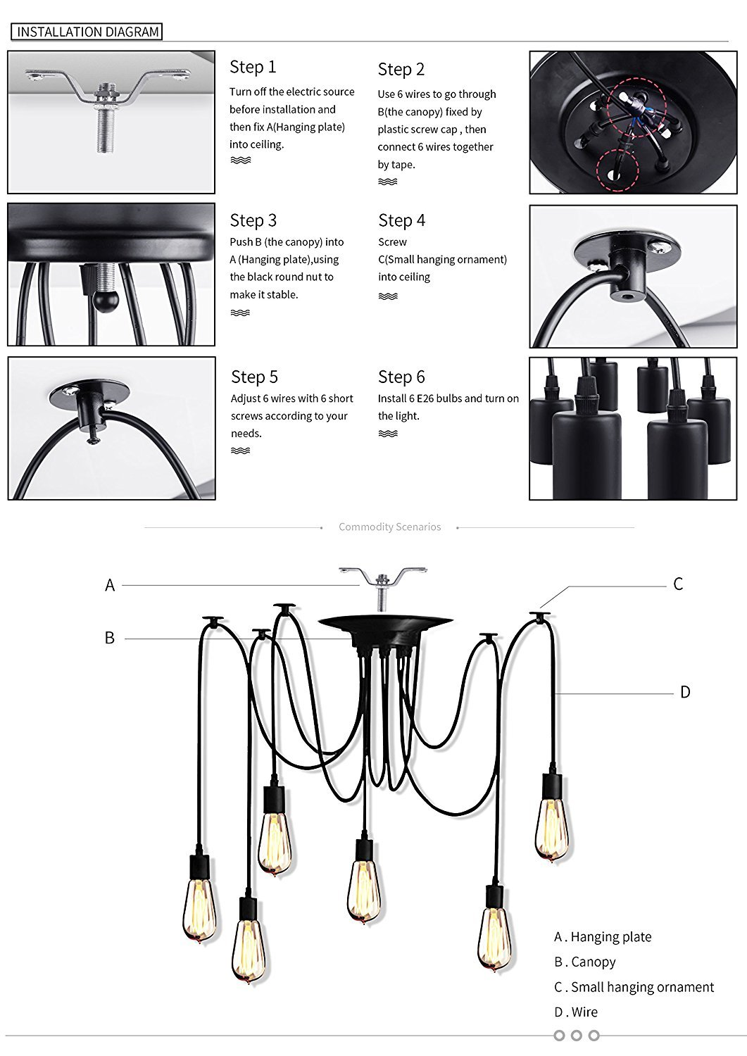 Vintage Edison Multiple Ajustable Diy Ceiling Spider Lamp Light Chandelier Wiring Diagram Pendant Lighting Modern Chic Industrial Dining