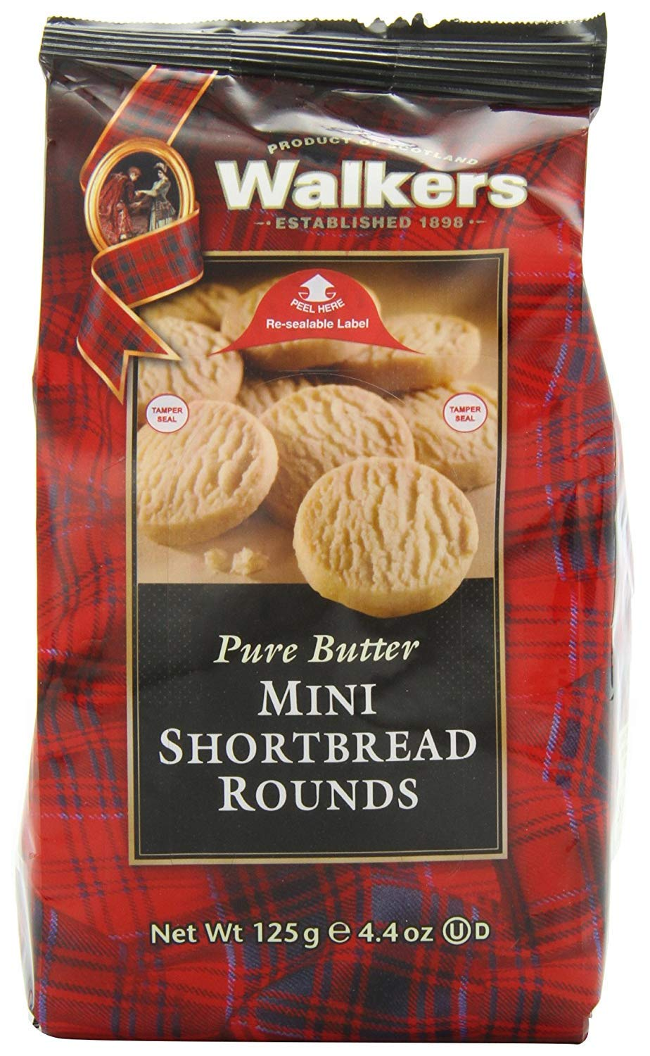 Walkers Shortbread Mini Shortbread Rounds, Traditional Pure Butter Shortbread Cookies, 4.4-Ounce Bags (6 Bags) by Walkers Shortbread