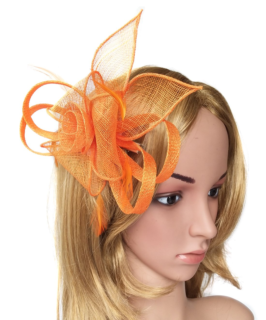 Biruil Sinamay Fascinator Hat Feather Mesh Pillbox Flower Derby Tea Party Headband (Style 1 Orange)