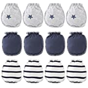 Himipopo 6 Pack Cotton Newborn Baby Infant Mittens Gloves No Scratch 0-3 Months 3 Color (Grey Combination)