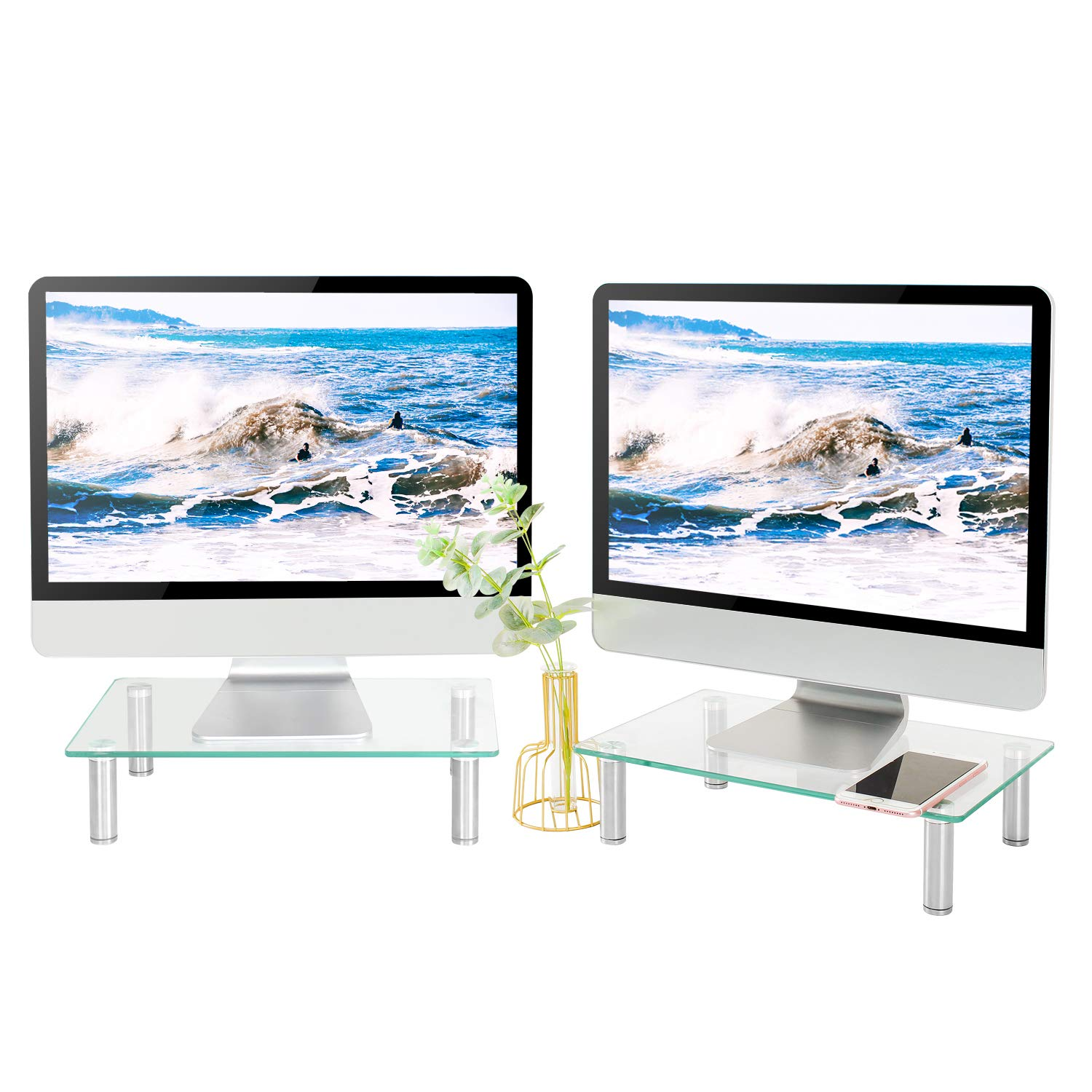 5Rcom Computer Dual Monitor Stand Clear Tempered Glass Laptop Riser,Multi Desktop Stand with Height Adjustable Legs for Flat Screen LCD LED TV, Laptop/Notebook|2 Pack