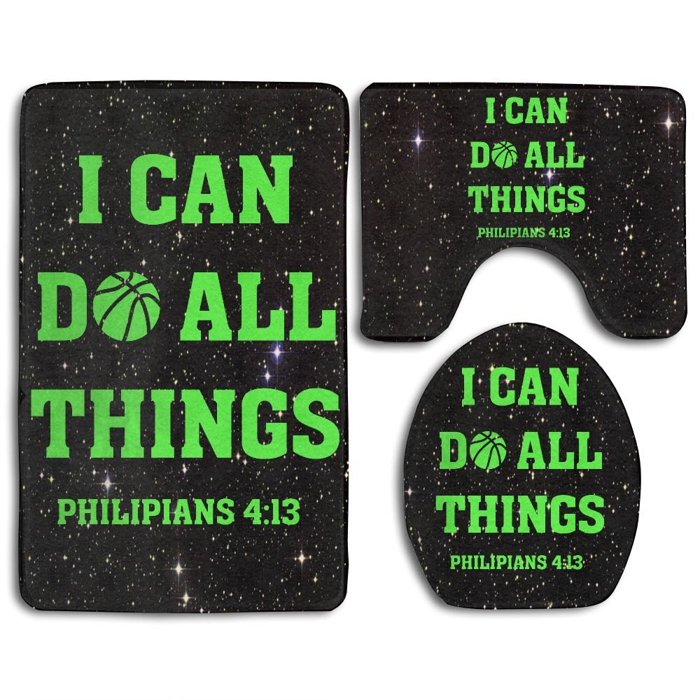 I Can Do All Things Bible Verse Christian Fashion Bath Mat Set Bathroom Carpet Rug Non-Slip 3 Piece Bath Mat Set