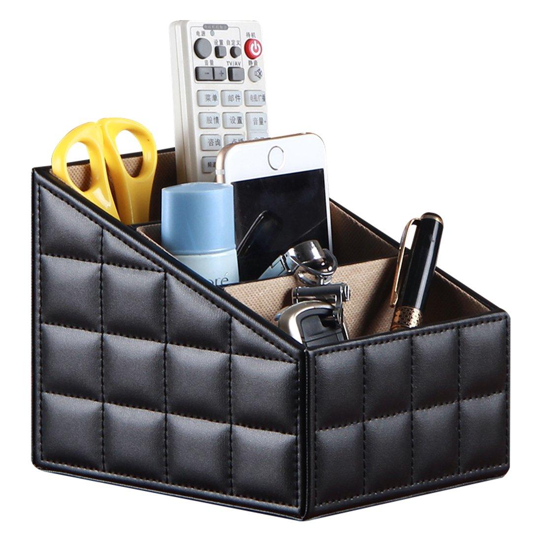 Remote Control Holder Leather TV Remote Caddy Organizer Media Organizer 3 Slot Office Supply Storage Rack(Black)