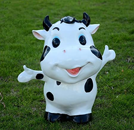 Habitación Jardín decoraciones muebles animal pequeña escultura de vaca paisaje paisaje exterior adornos de resina, a 38 * 35 * 35 CM: Amazon.es: Hogar