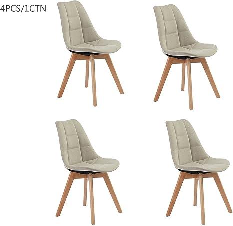 Fanilife sedia da pranzo set di 4 PU Lether legno gamba