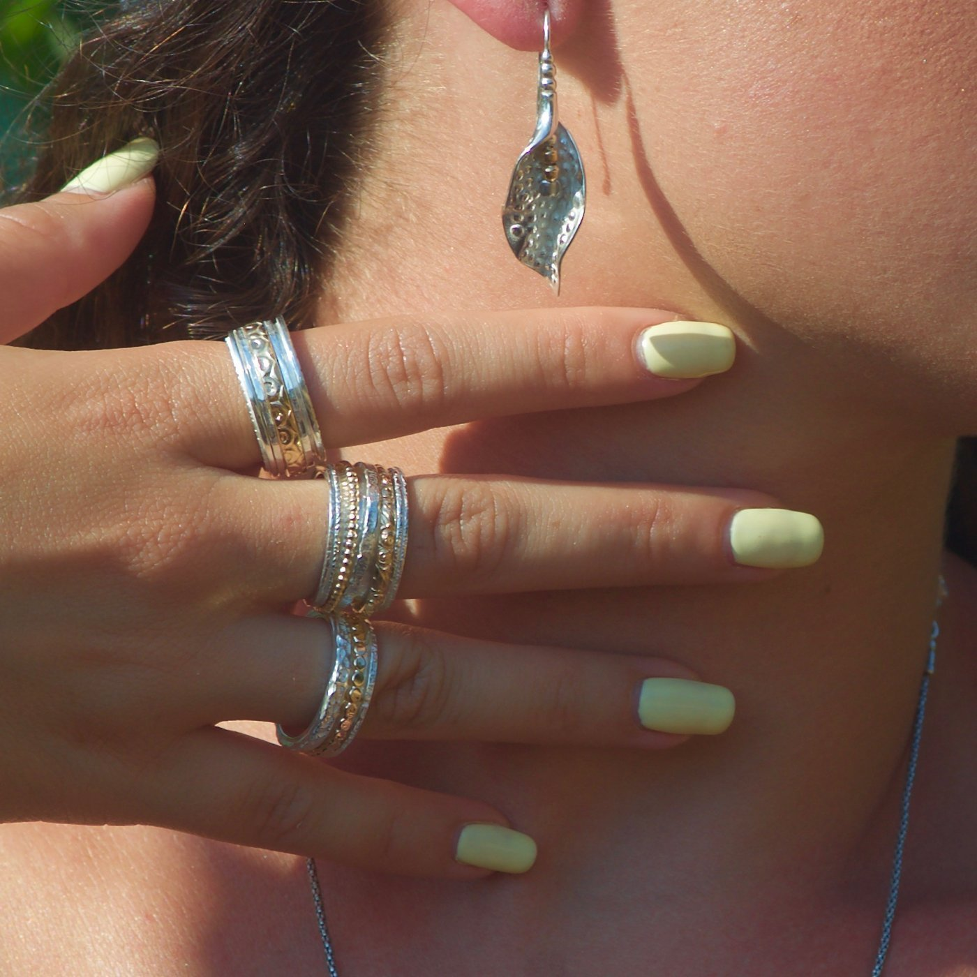 Silver and gold Mixed spinner wedding ring for women size 6 to 9