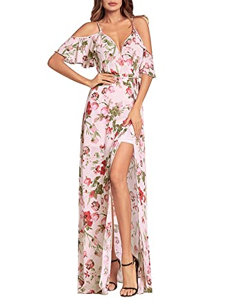 5f6a4a13e46 SHIBEVER Women s Summer Floral Maxi Dress Boho High Slit Cold Shoulder Wrap  Long Dresses Pink 2XL