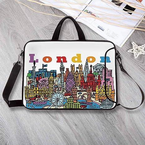 Amazon.com: London Neoprene Laptop Bag,Multicolor Cartoon ...