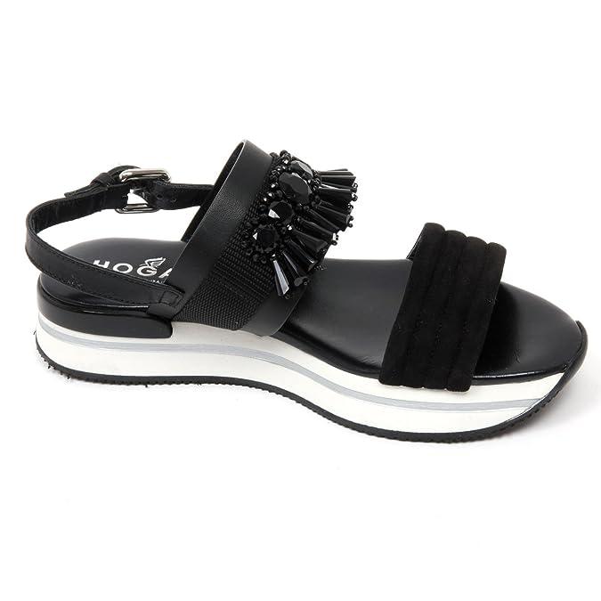 Dettagli su C8832 sandalo donna HOGAN H257 scarpa pietre nero sandal shoe woman