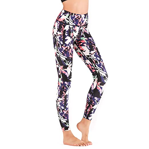 03f71eeffb9 Yahong Women Printed Active Legging Power Flex High Waist Workout Yoga  Leggings Stretch Tummy Control Capri for Gym Exercise Fitness at Amazon  Women s ...