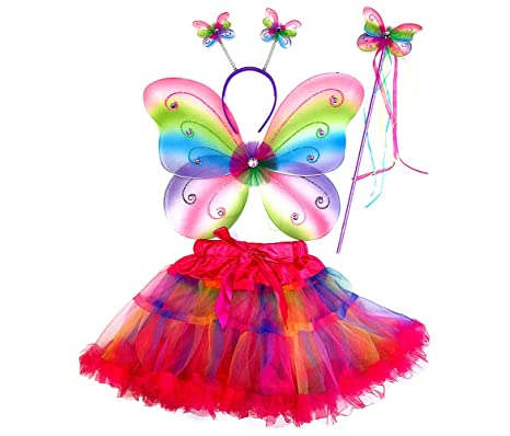 Mozlly Neon Rainbow Glittery Butterfly Fairy Tutu Costume - Includes Wings Tutu Wand and  sc 1 st  Amazon.com : neon fairy costume  - Germanpascual.Com