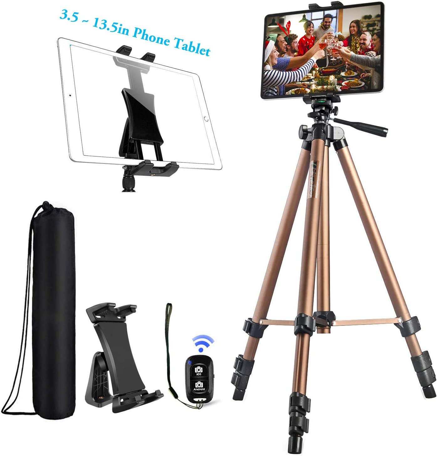 IPad Tripod Stand Universal Tablet Phone Mount Holder 51in Lightweight with Bluetooth Remote for iPad Pro 12.9 11 10.5,iPad Air Mini,Surface Tab,Galaxy Tab and 3.5 to 13.5in iPhone Tablet - Champagne