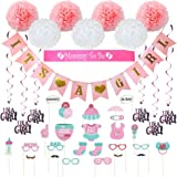 Baby Shower Decorations 40 pcs Kit for Girl   Assembled Banner   Party Photo Booth Props   Pink & White Flower Tissue Pom Poms   Swirls   Mommy To Be Sash   New Cute Design All in One Set Ready to Use