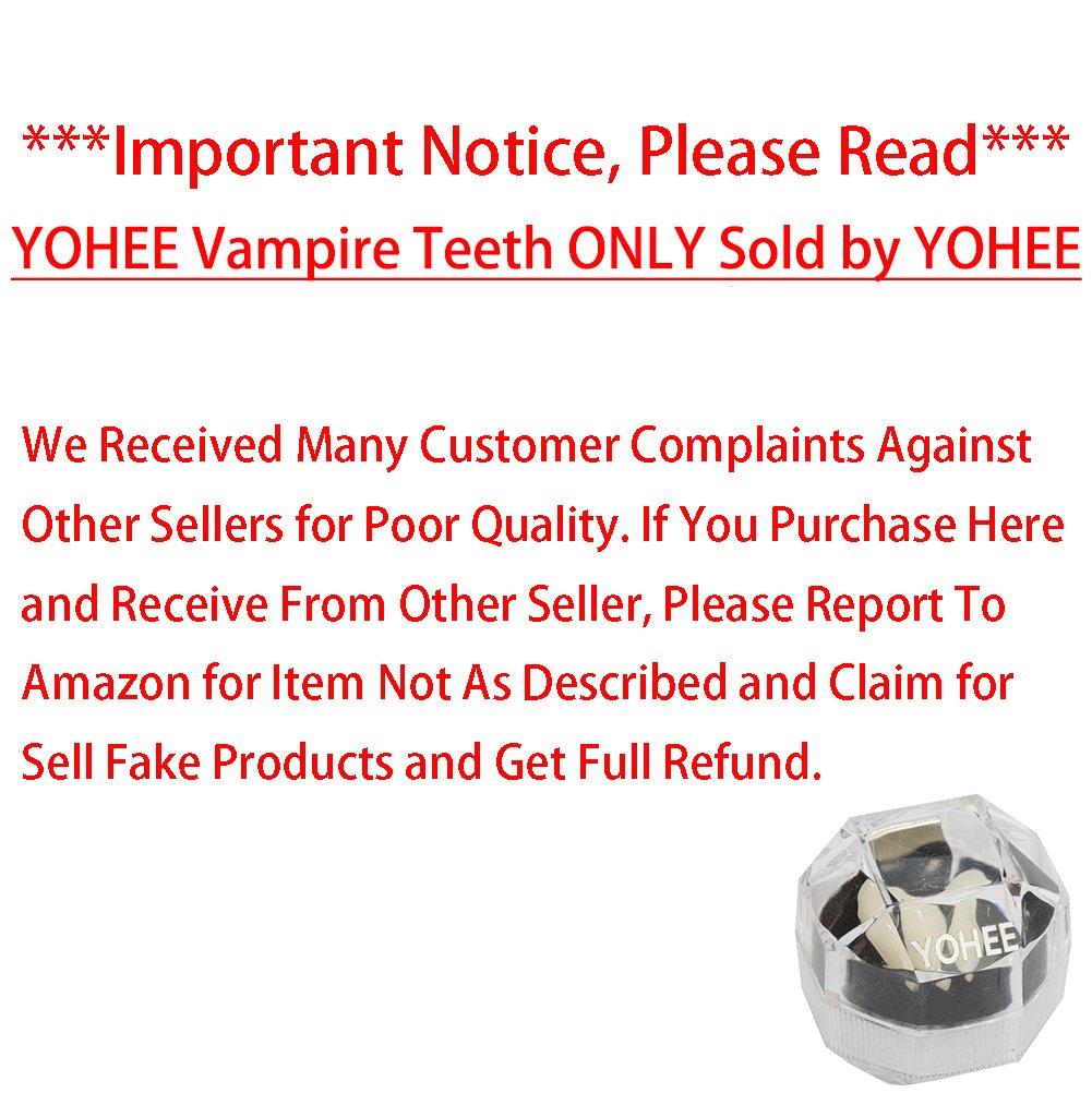 YOHEE Cosplay 13mm Vampire Teeth Dentures Halloween Party Props Fangs