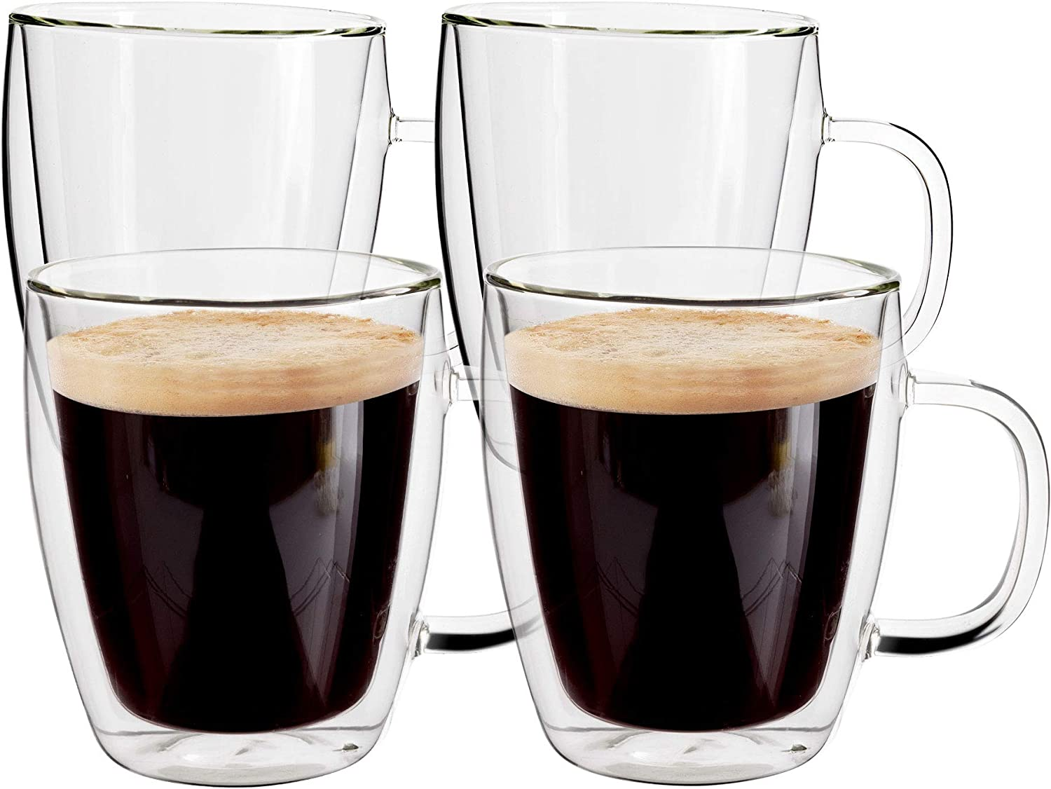 Yuncang Glass Coffee Mugs 4 Pack ,16 oz(500 ml),Double Wall Insulated Glass Mugs Cups with Handle,Cappuccino Cups Perfect for Americano,Latte,Beverage,Cappuccinos,Espresso Cups