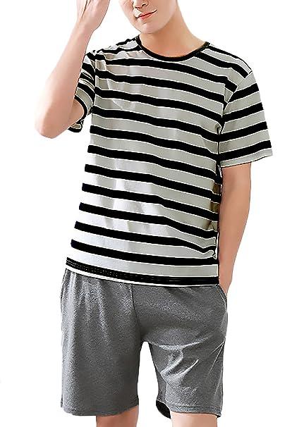 Mujer Pijama Hombre Verano Shorts+Camisetas Dos Piezas Rayas Dulce Lindo Chic Corta Cuello Redondo