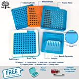 Daily Delux English Version #00 Capsule Holder with Improved Tamper (Free Pill Box & Screwdriver), 100 Holes Tray for Capsules, Filling Tools