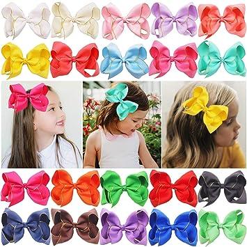 20pcs 6 inch Girls Kids Children Grosgrain Ribbon Large Bows Alligator Hair Clip