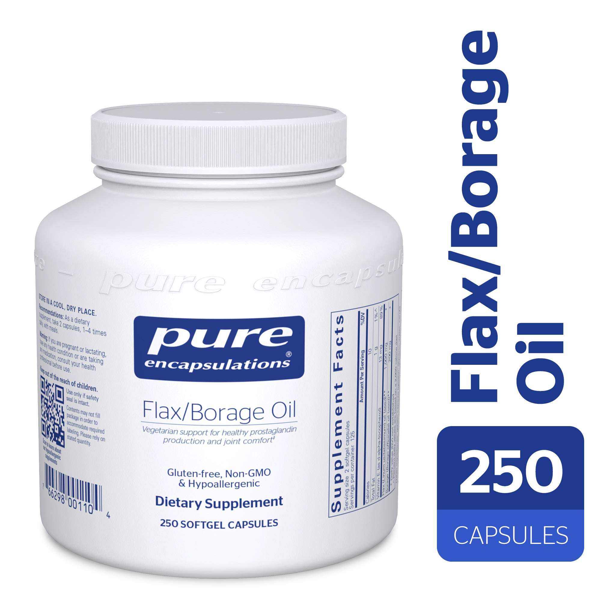 Pure Encapsulations - Flax/Borage Oil - Hypoallergenic Supplement Containing 50% Omega-3 and 22% GLA - 250 Softgel Capsules