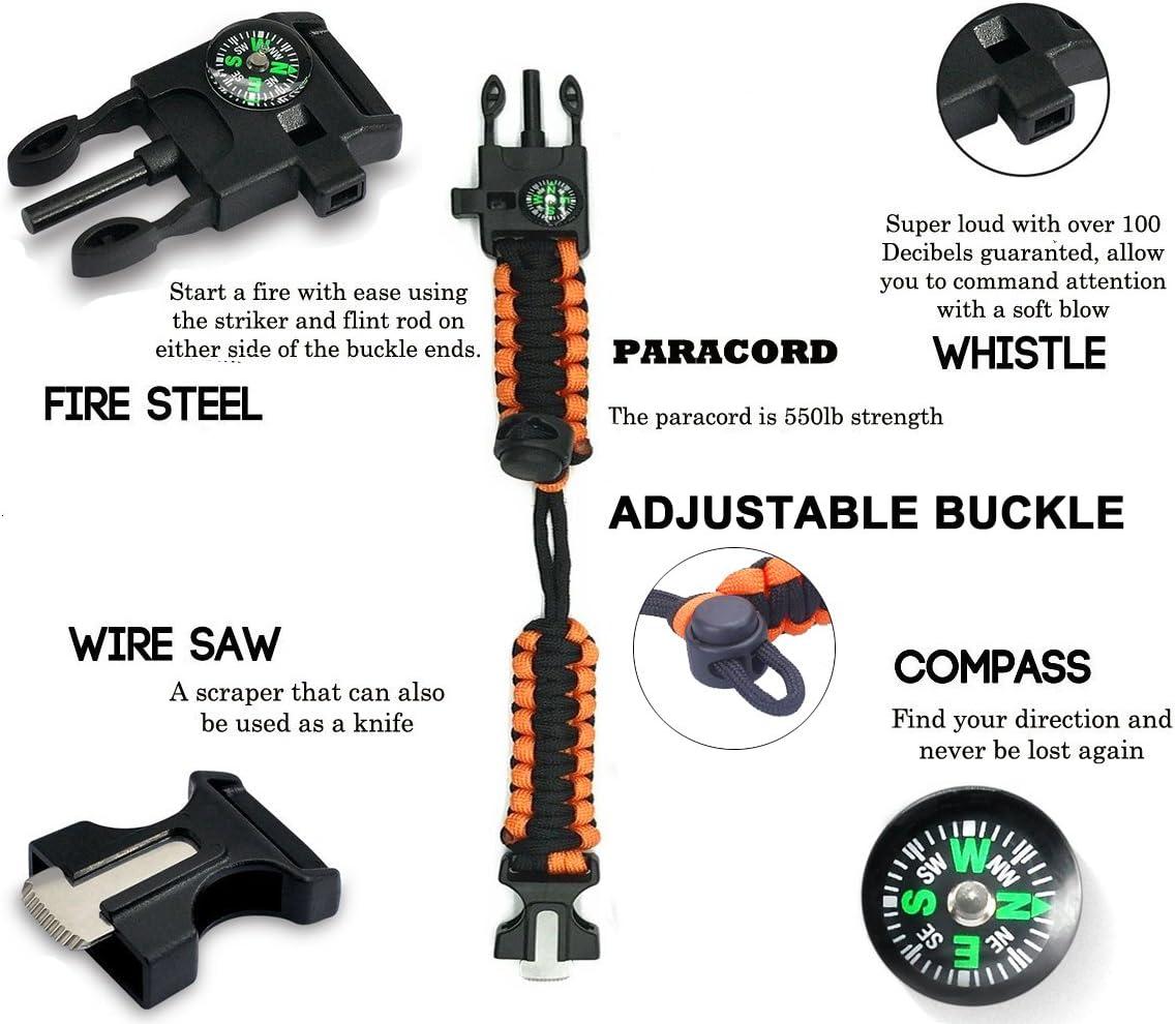 5-en-1 Bracelet de Survie Sifflet de Secours Nouveau Kit de V/êtement de Bracelet de Sport durgence /à 7 Noyaux Paracord Compas /étanche Multi-Outils pour Accessoires de Loisirs en Plein Air