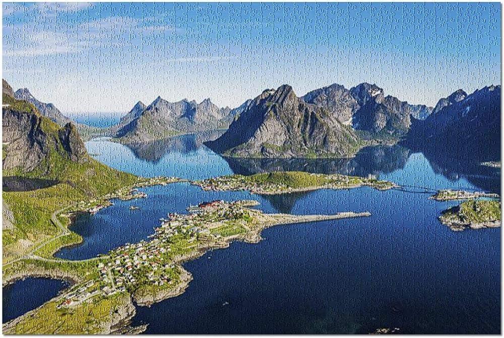 YYTOOF HD Nordland Noruega - Archipiélago de Lofoten en un día Azul con Aguas tranquilas y Transparentes 9016782 (¡Rompecabezas Premium de 500 Piezas para Adultos 52*38cm Hecho en EE. UU.!): Amazon.es: Juguetes